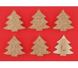 Wooden golden trees with glitters on a 4.5 cm peg, 6 bark