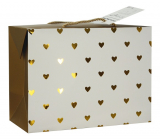 Anděl Bag gift box, closable, with golden hearts 23 x 16 x 11 cm