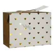 Angel Bag gift box, closable, with golden hearts 23 x 16 x 11 cm