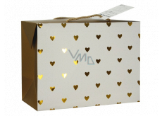 Anděl Gift paper bag box 23 x 16 x 11 cm lockable, with golden hearts