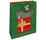 Nekupto Gift paper bag 32.5 x 26 x 13 cm Christmas green with cat WBL 1954 50