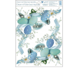Room Decor Window foil without glue Blue corner eggs 30 x 42 cm