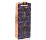 Nekupto Gift paper bag for a luxury bottle 12.5 x 32.5 x 8 cm Gold patterns 2037 LILH