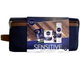 Nivea Men Sensitive After Shave Balm 100 ml + Shaving Gel 200 ml + Black & White Invisible Original antiperspirant roll-on 50 ml + Labello Lip Balm 5.5 ml + case, cosmetic set for men