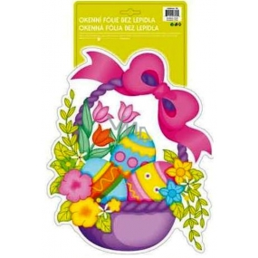 Room Decor Window foil without glue Easter hologram shaped basket with eggs 40 x 27 cm 1 piece
