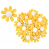 Felt flowers with a yellow decoration 3.5 cm in a box of 18 pieces