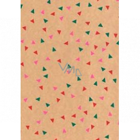 Ditipo Gift wrapping paper 70 x 200 cm Christmas KRAFT green, pink and red triangles