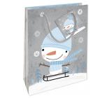 Nekupto Gift paper bag 14 x 11 x 6.5 cm Christmas with snowman WBS 1913 02