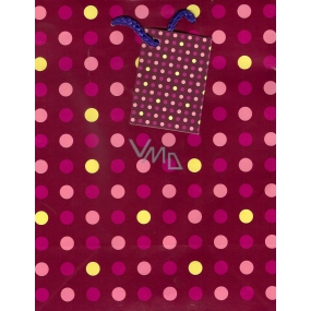 Nekupto Gift paper bag 23 x 18 x 10 cm Polka dots purple 1 piece 620 30 KAM