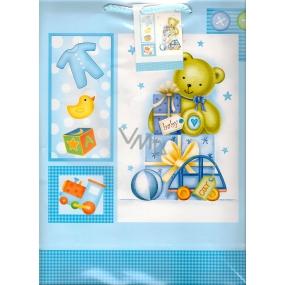 Nekupto Dárková papírová taška velká 32,5 x 26 x 13 cm Modrá s medvídkem baby 1 kus 842 40 BL