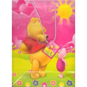 Ditipo Disney Dárková papírová taška dětská L Medvídek Pú, prasátko, sluníčko 32,5 x 13,5 x 26 cm 2902 002
