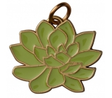 Yankee Candle Charming Scents metal pendant in the shape of a green plant with gold edging on a Scculent car tag