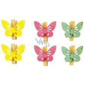 Wooden butterflies with pin 4 cm, 6 pcs