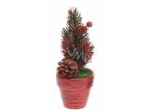 Christmas twig decoration in a pot-red
