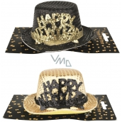 Hat with inscription Happy New Year, 1 piece on clip 13 cm