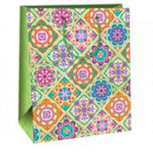 Ditipo Gift paper bag large light green various mandalas 26 x 32.5 x 13.8 cm