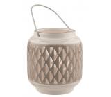 Ceramic gray lantern with white decor 11 cm