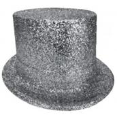 Carnival top hat 25 cm silver