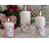 Lima Motif Rose with flamingo candle white cylinder 50 x 70 mm 1 piece