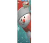 Nekupto Gift paper bag for bottle 33 x 10 x 9 cm turquoise Red snowman 909 40 WLH