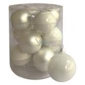 Sada skleněných baněk bílých 5,7 cm, 12 ks