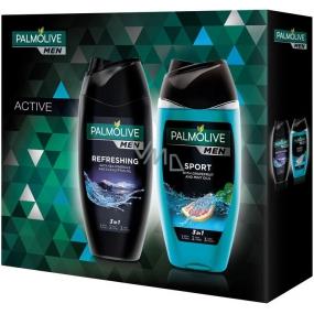 Palmolive Men Refreshing 3 in 1 shower gel for body, face and hair for men 250 ml + Men Sport 3 in 1 shower gel for body, face and hair for men 250 ml, cosmetic set