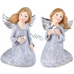 Angel sitting silver polystone mix 56 x 90 mm
