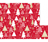 Nekupto Gift wrapping paper 70 x 200 cm Christmas Red white, gold trees