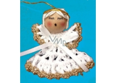 Crochet angel with gold trim 6 cm