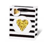 BSB Luxury gift paper bag 23 x 19 x 9 cm Golden Glitter Heart LDT 409 - A5