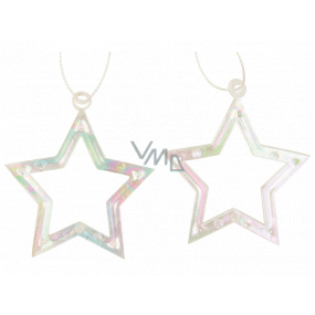 Plastic hanging star 6 cm 2 pieces