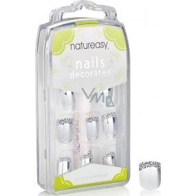 Diva & Nice Natureasy Nails Decorated adhesive nails silver with black and white application 24 pieces + glue 2 g
