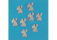Andílci zlatí s glitry 3,3 cm, 8 ks v krabičce