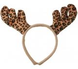 Headband antlers beige patterned 11 cm