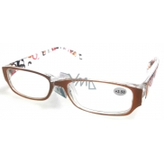 Glasses diop.plast. + 1,5 orange brown side with rectangles MC2084