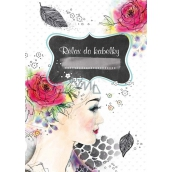 Ditipo Relax in a handbag Girl with a rose in her hair creative notebook 16 sheets, format A6 15 x 10.5 cm