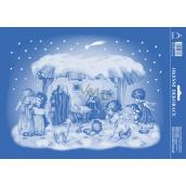 Arch Christmas sticker, window foil without glue Nativity scene 25 x 35 cm