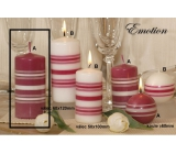 Lima Fresh Line Emotion scented candle pink - white stripes cylinder 60 x 120 mm 1 piece