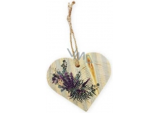 Bohemia Gifts & Cosmetics Wooden decorative heart with Lavender print 8 cm