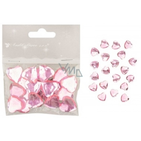 Self adhesive pink hearts 2 cm, 20 pieces