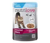 Nutrilove Stewed fillets with juicy salmon in sauce complete food for cats pocket 85 g