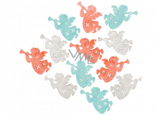 Angel wooden orange-blue-gray 3 cm 12 pieces