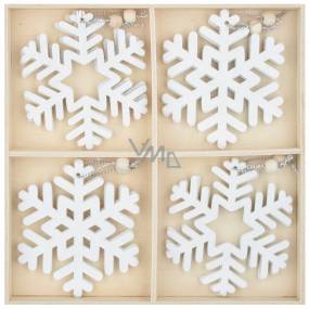 Wooden white flakes 7.5 cm 12 pieces for hanging, in a wooden box