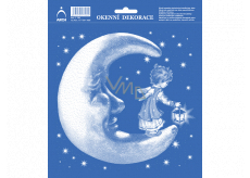 Arch Christmas sticker, window foil without glue Moon with angel 20 x 23 cm