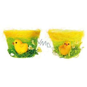Green flowerpot with chicken 9 x 12.5 cm