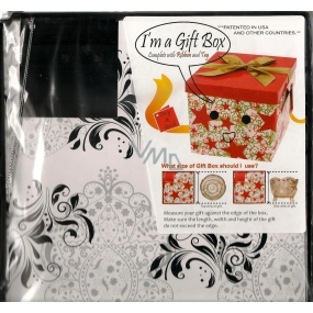 Angel Folding gift box with ribbon black and white ornaments 22 x 22 x 13 cm 1 piece