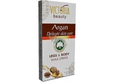 Victoria Beauty Argan Depilační pásky na tělo s arganovým olejem 20 kusů + 2 čisticí ubrousky 22 kusů
