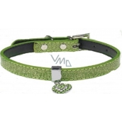 Tatrapet Lurex collar green decorated - heart 1,5 x 37 cm
