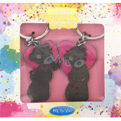Me To You Metal keychain Pink heart for couples 2 pieces in a package