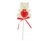 Felt teddy bear with heart beige recess 6.5 cm + skewers